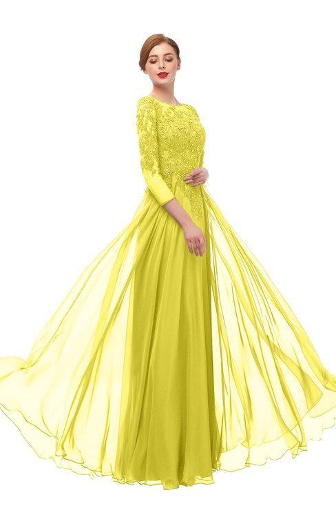 ColsBM Dixie Pale Yellow Bridesmaid Dresses Lace Zip up Mature Floor Length Bateau Three-fourths Length Sleeve