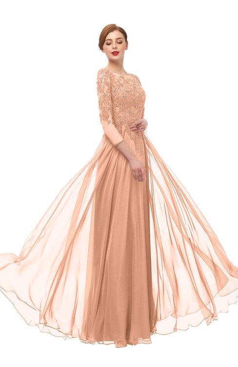 ColsBM Dixie Peach Nectar Bridesmaid Dresses Lace Zip up Mature Floor Length Bateau Three-fourths Length Sleeve
