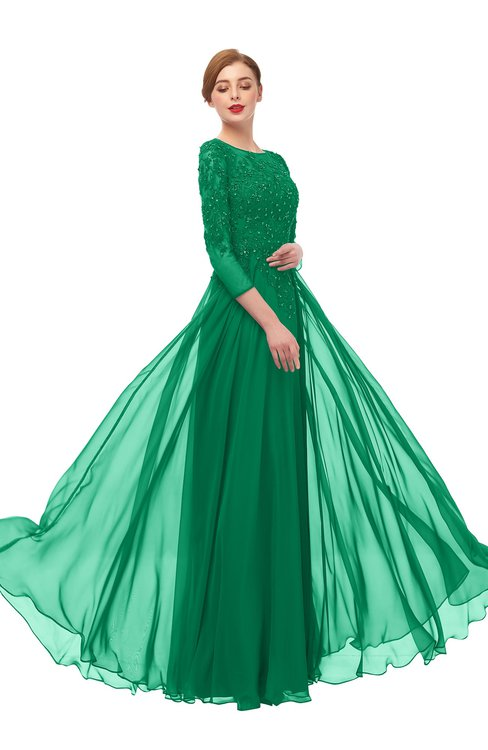 ColsBM Dixie Pepper Green Bridesmaid Dresses Lace Zip up Mature Floor Length Bateau Three-fourths Length Sleeve