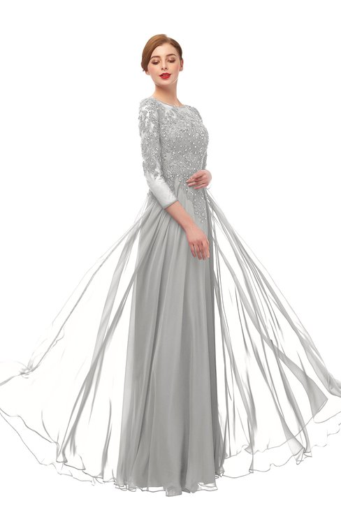 ColsBM Dixie Platinum Bridesmaid Dresses Lace Zip up Mature Floor Length Bateau Three-fourths Length Sleeve