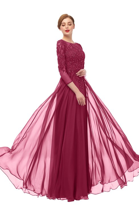ColsBM Dixie Red Bud Bridesmaid Dresses Lace Zip up Mature Floor Length Bateau Three-fourths Length Sleeve