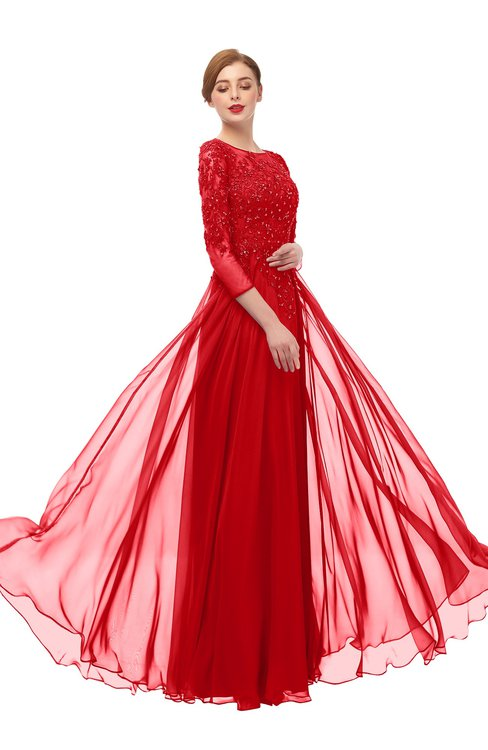 ColsBM Dixie Red Bridesmaid Dresses Lace Zip up Mature Floor Length Bateau Three-fourths Length Sleeve