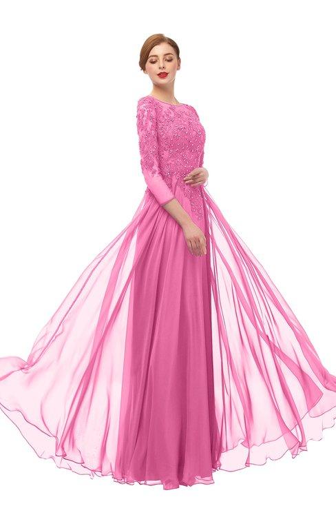 ColsBM Dixie Rose Pink Bridesmaid Dresses Lace Zip up Mature Floor Length Bateau Three-fourths Length Sleeve
