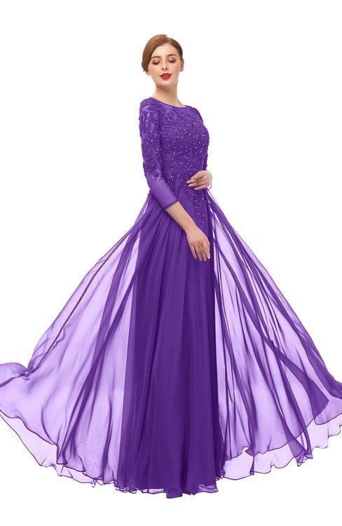 ColsBM Dixie Royal Purple Bridesmaid Dresses Lace Zip up Mature Floor Length Bateau Three-fourths Length Sleeve