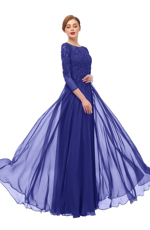 ColsBM Dixie Spectrum Blue Bridesmaid Dresses Lace Zip up Mature Floor Length Bateau Three-fourths Length Sleeve