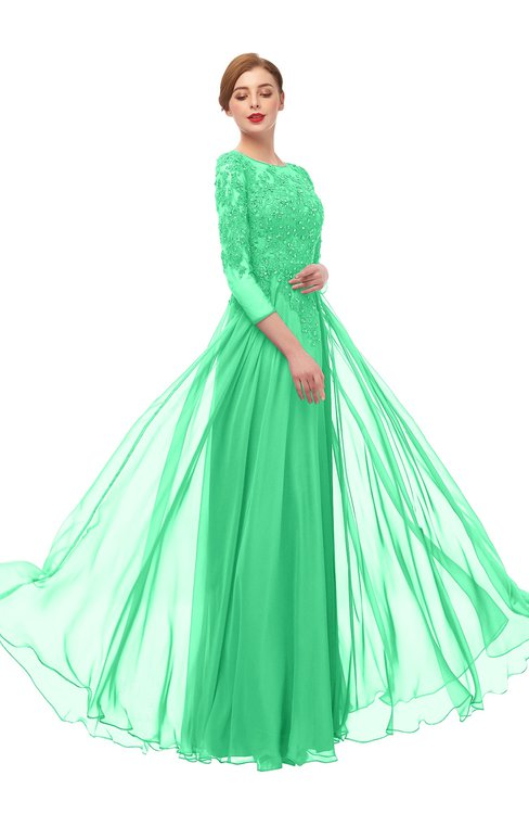 ColsBM Dixie Spring Bud Bridesmaid Dresses Lace Zip up Mature Floor Length Bateau Three-fourths Length Sleeve