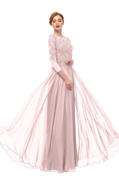 ColsBM Dixie Veiled Rose Bridesmaid Dresses Lace Zip up Mature Floor Length Bateau Three-fourths Length Sleeve