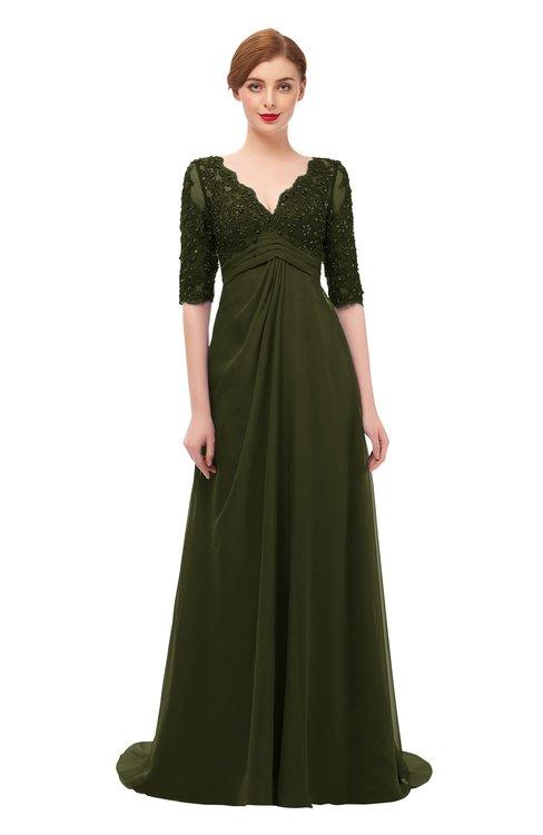 ColsBM Harper Beech Bridesmaid Dresses Half Backless Elbow Length Sleeve Mature Sweep Train A-line V-neck