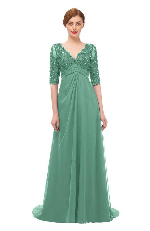 ColsBM Harper Beryl Green Bridesmaid Dresses Half Backless Elbow Length Sleeve Mature Sweep Train A-line V-neck