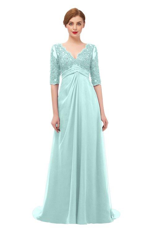 ColsBM Harper Blue Glass Bridesmaid Dresses Half Backless Elbow Length Sleeve Mature Sweep Train A-line V-neck