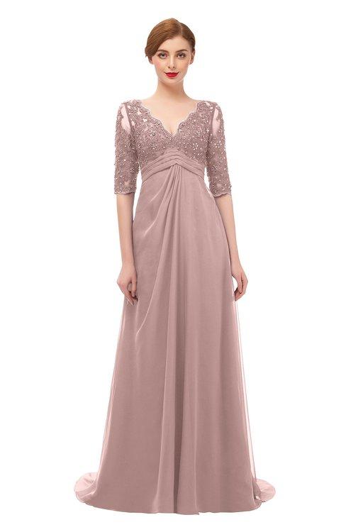 ColsBM Harper Blush Pink Bridesmaid Dresses Half Backless Elbow Length Sleeve Mature Sweep Train A-line V-neck