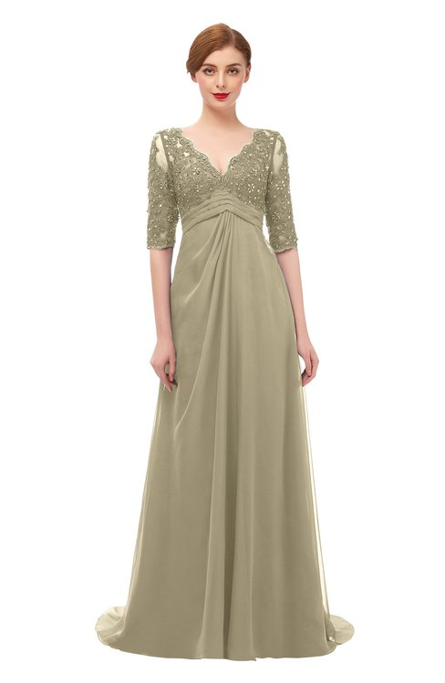 ColsBM Harper Candied Ginger Bridesmaid Dresses Half Backless Elbow Length Sleeve Mature Sweep Train A-line V-neck