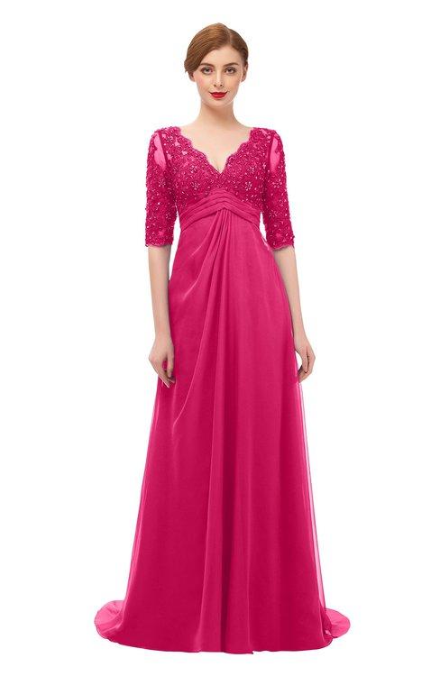 ColsBM Harper Fuschia Bridesmaid Dresses Half Backless Elbow Length Sleeve Mature Sweep Train A-line V-neck