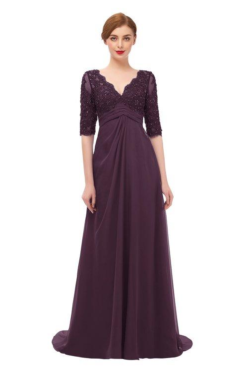 ColsBM Harper Plum Bridesmaid Dresses Half Backless Elbow Length Sleeve Mature Sweep Train A-line V-neck