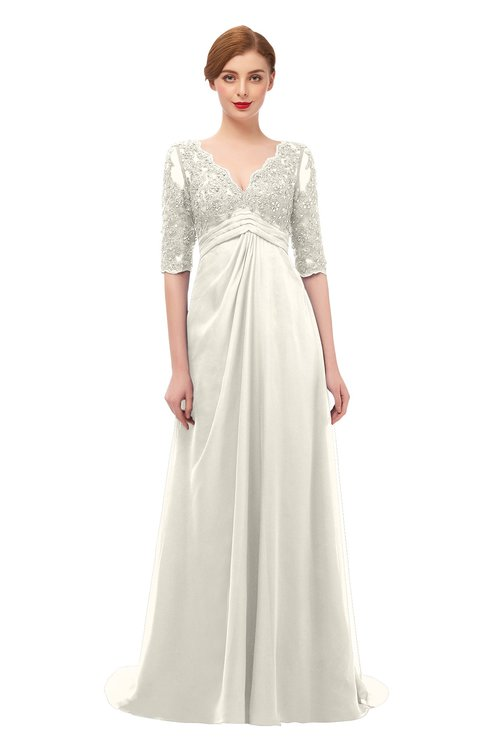 ColsBM Harper Whisper White Bridesmaid Dresses Half Backless Elbow Length Sleeve Mature Sweep Train A-line V-neck
