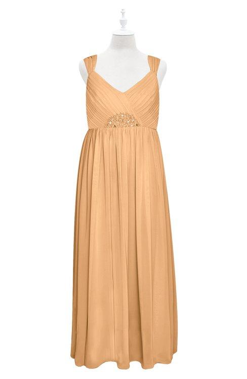 ColsBM Saniyah Apricot Plus Size Bridesmaid Dresses V-neck Floor Length Romantic Sleeveless Paillette Backless