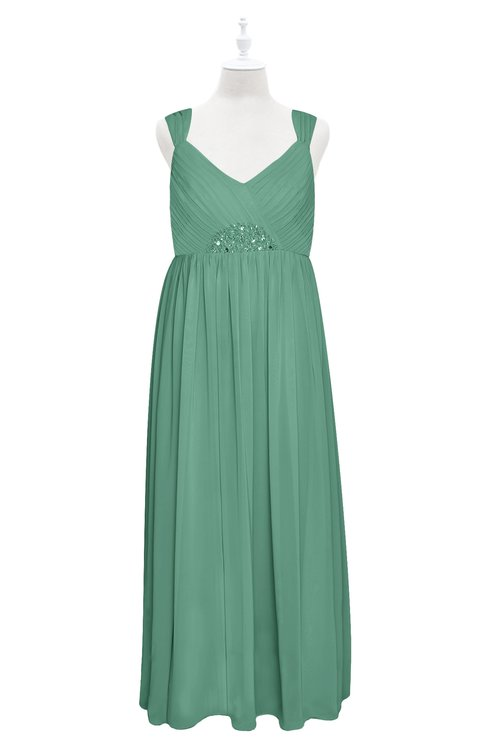 ColsBM Saniyah Beryl Green Plus Size Bridesmaid Dresses V-neck Floor Length Romantic Sleeveless Paillette Backless