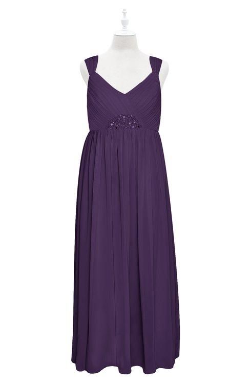ColsBM Saniyah Violet Plus Size Bridesmaid Dresses V-neck Floor Length Romantic Sleeveless Paillette Backless
