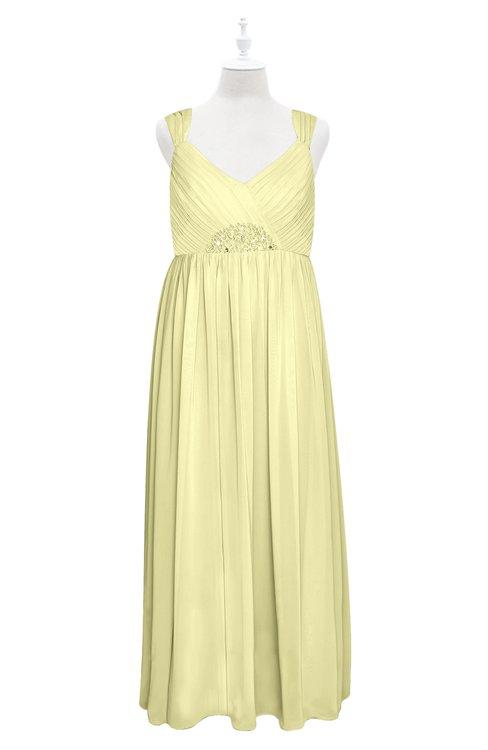 ColsBM Saniyah Wax Yellow Plus Size Bridesmaid Dresses V-neck Floor Length Romantic Sleeveless Paillette Backless