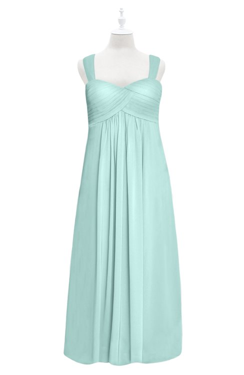 ColsBM Naya Blue Glass Plus Size Bridesmaid Dresses A-line Floor Length Zipper Casual Sleeveless Ruching