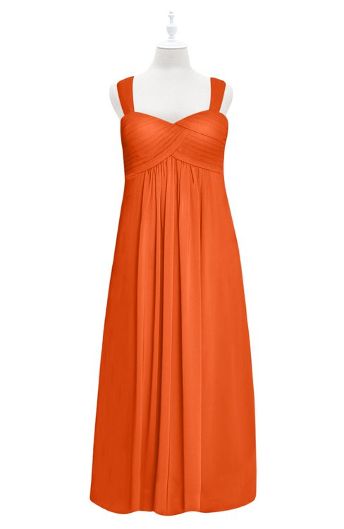 ColsBM Naya Tangerine Plus Size Bridesmaid Dresses A-line Floor Length Zipper Casual Sleeveless Ruching