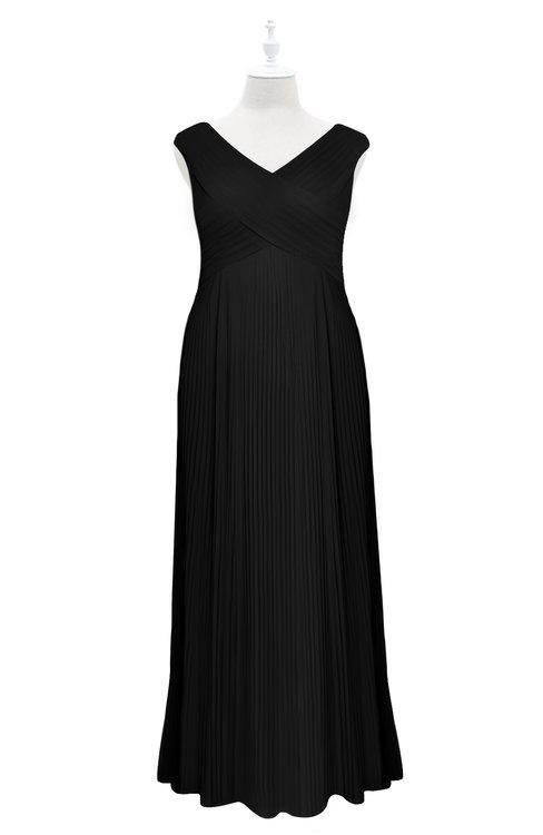 ColsBM Malaya Black Plus Size Bridesmaid Dresses Ruching Elegant A-line Floor Length V-neck Zipper