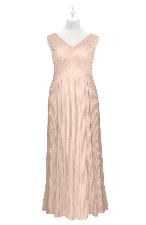 ColsBM Malaya Fresh Salmon Plus Size Bridesmaid Dresses Ruching Elegant A-line Floor Length V-neck Zipper