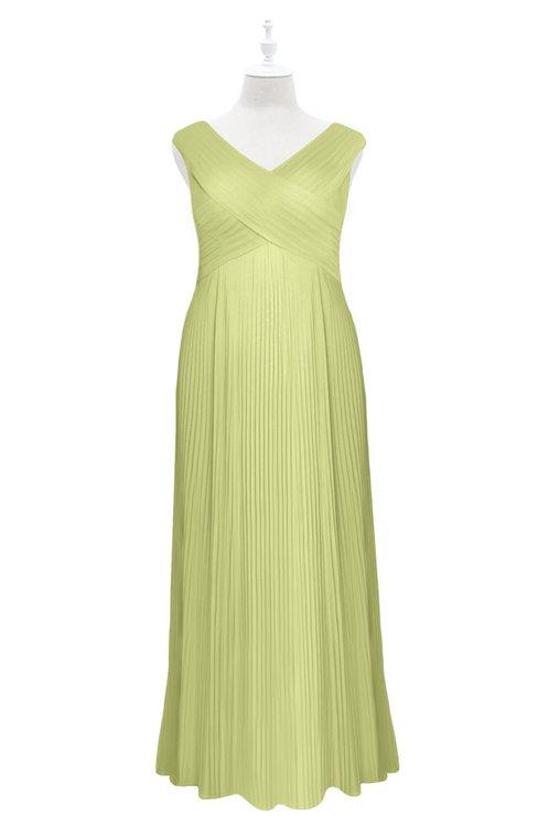 ColsBM Malaya Lime Sherbet Plus Size Bridesmaid Dresses Ruching Elegant A-line Floor Length V-neck Zipper