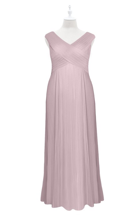 ColsBM Malaya Pale Lilac Plus Size Bridesmaid Dresses Ruching Elegant A-line Floor Length V-neck Zipper