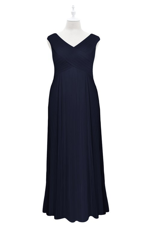ColsBM Malaya Peacoat Plus Size Bridesmaid Dresses Ruching Elegant A-line Floor Length V-neck Zipper