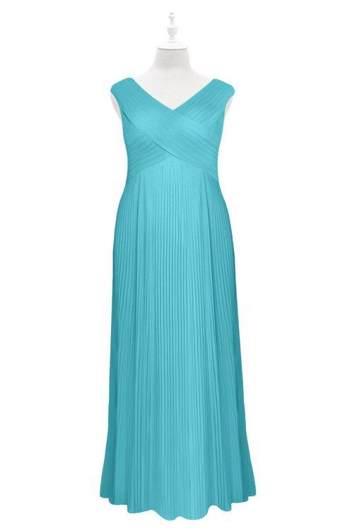 ColsBM Malaya Turquoise Plus Size Bridesmaid Dresses Ruching Elegant A-line Floor Length V-neck Zipper