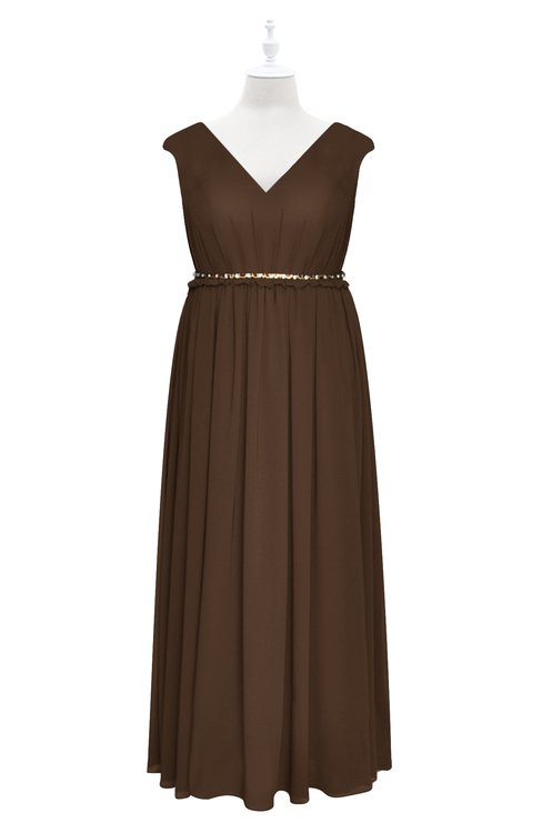 ColsBM Simone Chocolate Brown Plus Size Bridesmaid Dresses Pleated Sleeveless Elegant A-line V-neck Floor Length