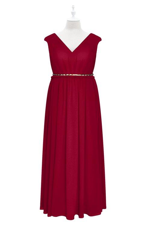 ColsBM Simone Dark Red Plus Size Bridesmaid Dresses Pleated Sleeveless Elegant A-line V-neck Floor Length
