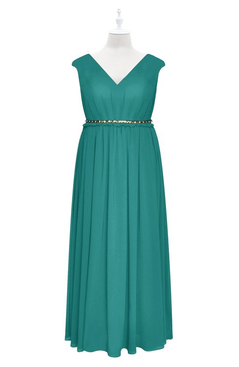 ColsBM Simone Emerald Green Plus Size Bridesmaid Dresses Pleated Sleeveless Elegant A-line V-neck Floor Length