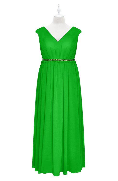 ColsBM Simone Jasmine Green Plus Size Bridesmaid Dresses Pleated Sleeveless Elegant A-line V-neck Floor Length
