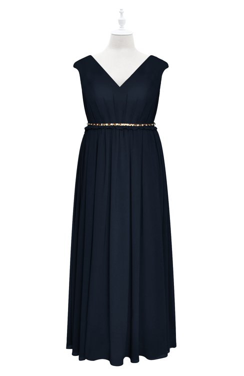ColsBM Simone Navy Blue Plus Size Bridesmaid Dresses Pleated Sleeveless Elegant A-line V-neck Floor Length