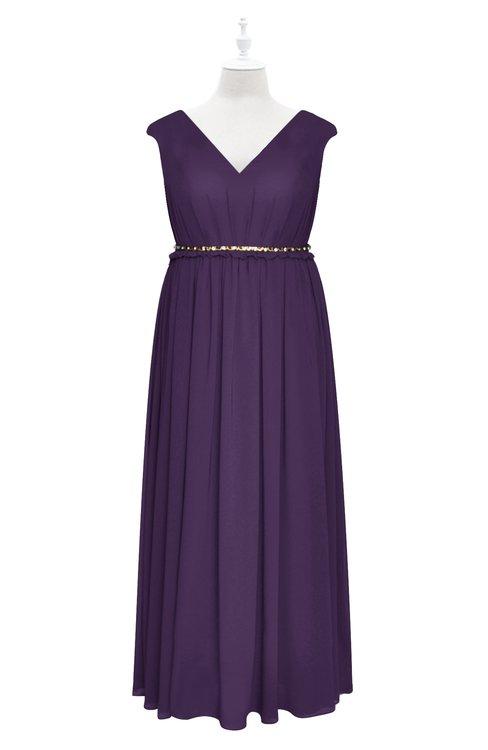 ColsBM Simone Violet Plus Size Bridesmaid Dresses Pleated Sleeveless Elegant A-line V-neck Floor Length