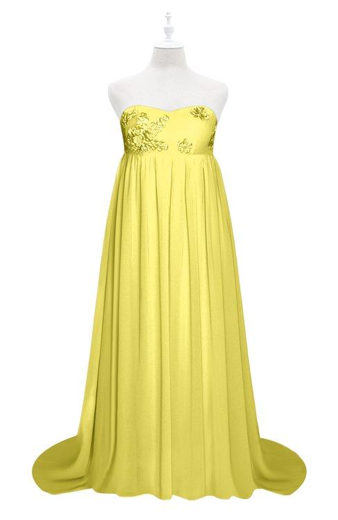 ColsBM Milania Yellow Iris Plus Size Bridesmaid Dresses Sweetheart Sleeveless Empire Pleated Backless Gorgeous