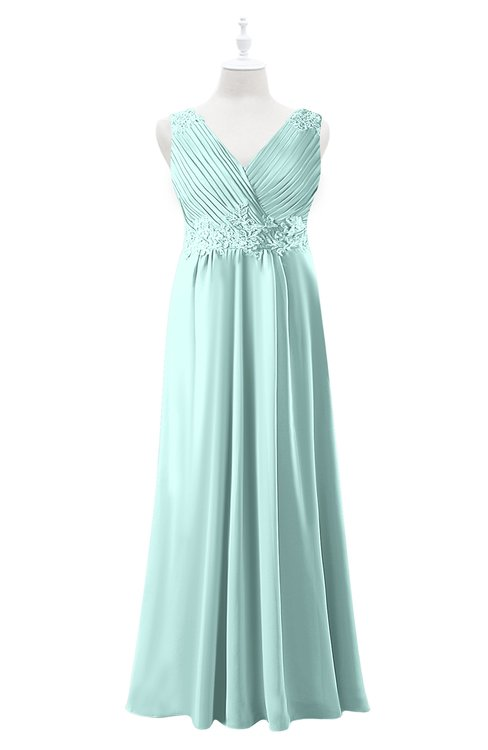 ColsBM Malaysia Blue Glass Plus Size Bridesmaid Dresses Floor Length Sleeveless V-neck Sexy A-line Zipper