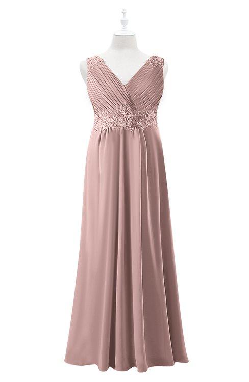 ColsBM Malaysia Blush Pink Plus Size Bridesmaid Dresses Floor Length Sleeveless V-neck Sexy A-line Zipper