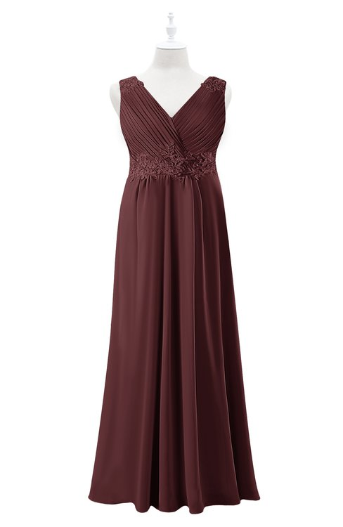 ColsBM Malaysia Burgundy Plus Size Bridesmaid Dresses Floor Length Sleeveless V-neck Sexy A-line Zipper