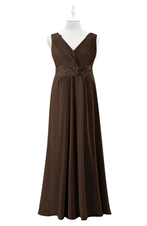 ColsBM Malaysia Copper Plus Size Bridesmaid Dresses Floor Length Sleeveless V-neck Sexy A-line Zipper