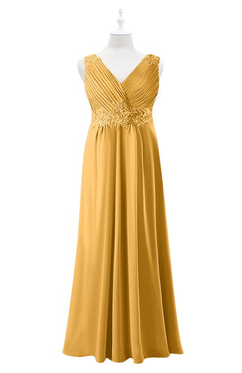 ColsBM Malaysia Golden Cream Plus Size Bridesmaid Dresses Floor Length Sleeveless V-neck Sexy A-line Zipper