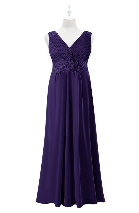 ColsBM Malaysia Royal Purple Plus Size Bridesmaid Dresses Floor Length Sleeveless V-neck Sexy A-line Zipper