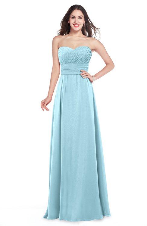 ColsBM Jadyn Aqua Bridesmaid Dresses Zip up Classic Strapless Pleated A-line Floor Length