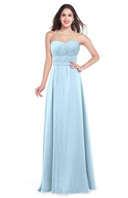 ColsBM Jadyn Ice Blue Bridesmaid Dresses Zip up Classic Strapless Pleated A-line Floor Length
