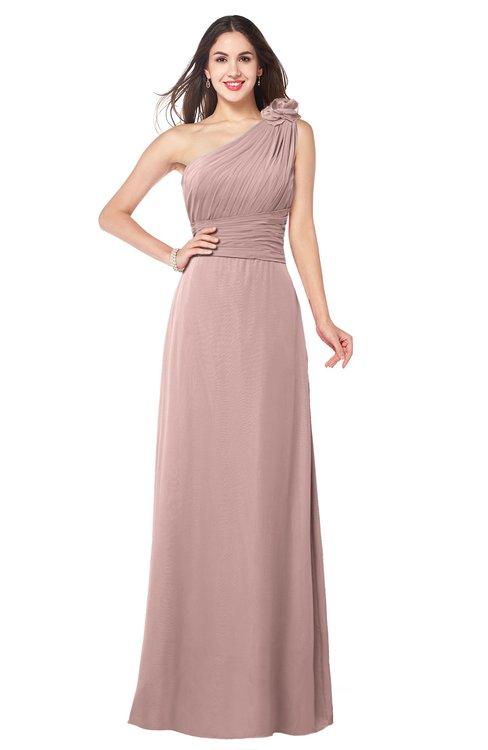 ColsBM Lashay Blush Pink Bridesmaid Dresses Sleeveless Asymmetric Neckline Simple Floor Length Sash Zipper