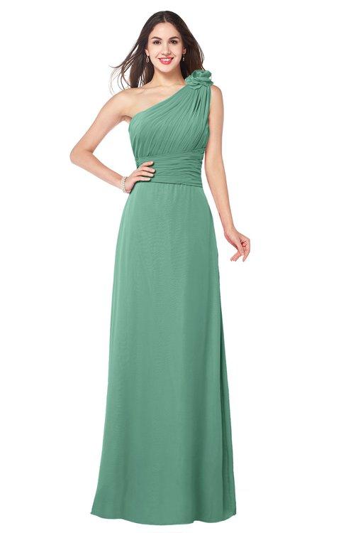 ColsBM Lashay Bristol Blue Bridesmaid Dresses Sleeveless Asymmetric Neckline Simple Floor Length Sash Zipper