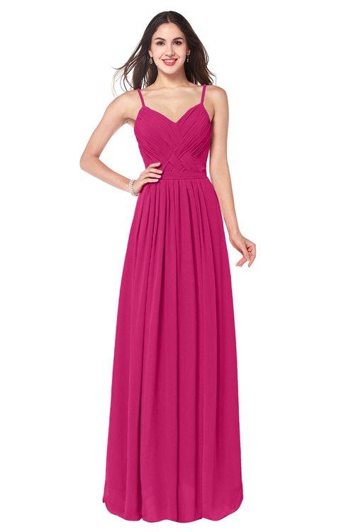 ColsBM Kinley Beetroot Purple Bridesmaid Dresses Sleeveless Sexy Half Backless Pleated A-line Floor Length