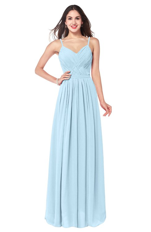 ColsBM Kinley Ice Blue Bridesmaid Dresses Sleeveless Sexy Half Backless Pleated A-line Floor Length